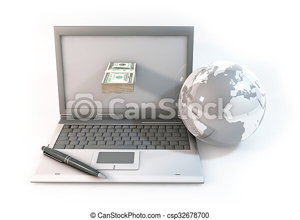 Design of Concept 3d abstract Business online about Computer with 100 dollar bill and world on white Background - csp32678700