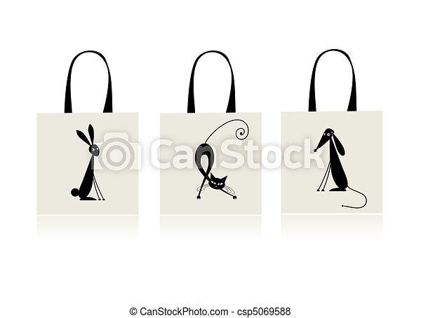 Design of shopping bag - bunny, cat and dog - csp5069588