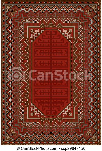 Teppich clipart  Clipart Vector of Design of the old carpet in red ton - luxurious ...