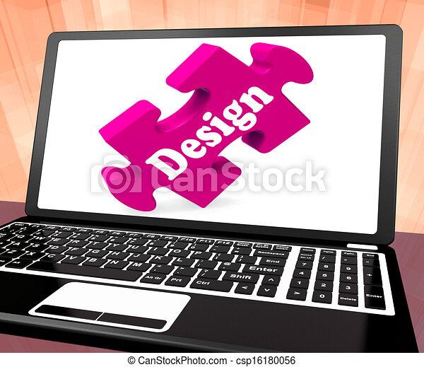 Design On Laptop Shows Creative Designer Artistic Designing - csp16180056