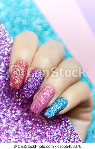 Design On Long Nails From Multicolored Sequin Closeupil Art