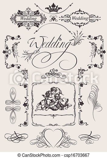Design ornate elements and wedding page decoration clip art vector vector design ornate elements and wedding page decoration csp16703667 junglespirit Gallery