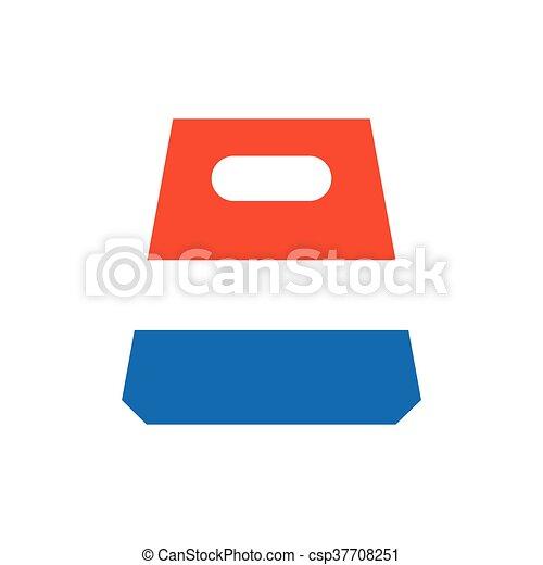 design paper bag icon blue and orange - csp37708251