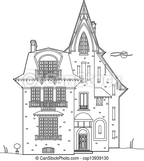 Design remains pretty vector illustration of an old house for Minimalist house sketch