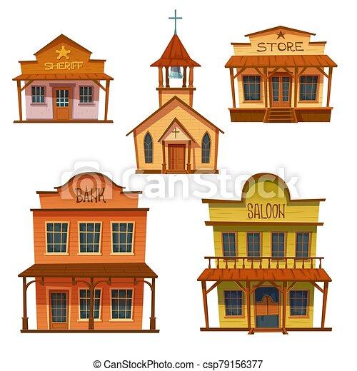 design., sauvage, bâtiments, ouest, style, cow-boy, ensemble - csp79156377