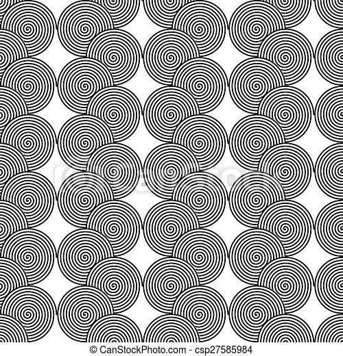 Design seamless monochrome spiral twirl pattern - csp27585984