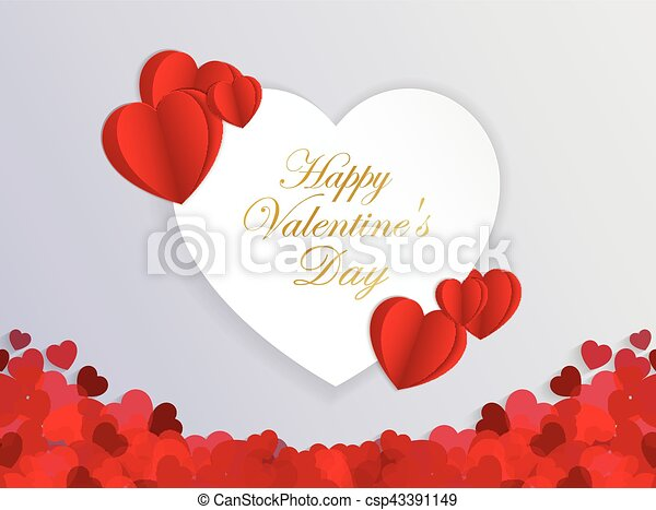 Design Template Heart for Valentine's Day Background - csp43391149