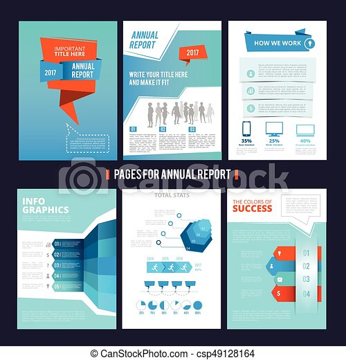 Design Template Of Corporation Annual Report Vector Pages Layout With Place For Your Text