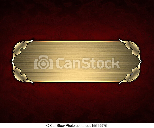design template red texture with gold name plate with gold trim