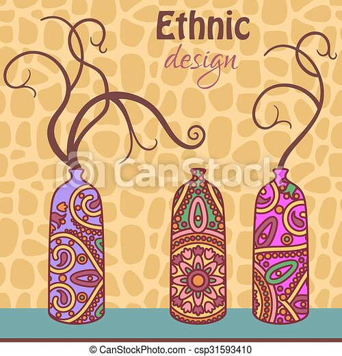 Design Vector Card With Ornamental African Vases