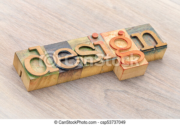 design word abstract in wood type - csp53737049