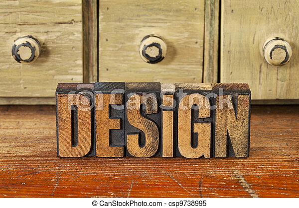 design word in vintage wood type - csp9738995