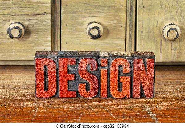design word in vintage wood type - csp32160934