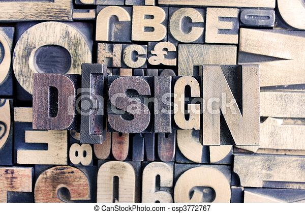 design word on letterpress - csp3772767