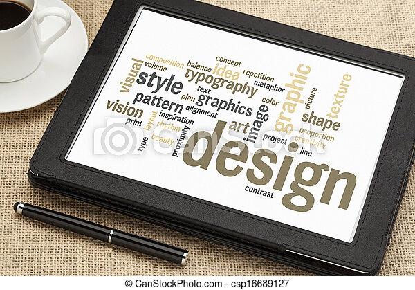 design, wort, wolke, grafik - csp16689127