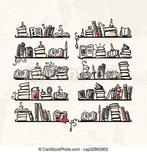 Bücherregale, Sketch für Ihr Design - csp32863902