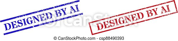 DESIGNED BY AI Textured Scratched Seal Stamps with Rectangle Frame - csp88490393
