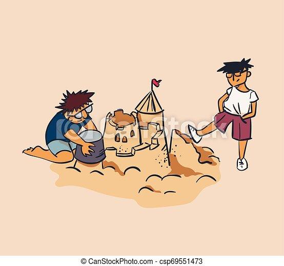 designer and tester concept vector illustration sand castle crush, envy, criticism concept - csp69551473