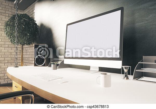 Designer desktop closeup - csp43678813
