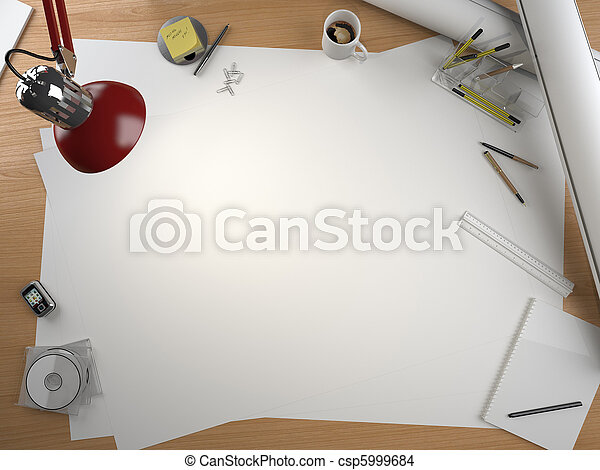 designer drawing table with elements and copy space - csp5999684