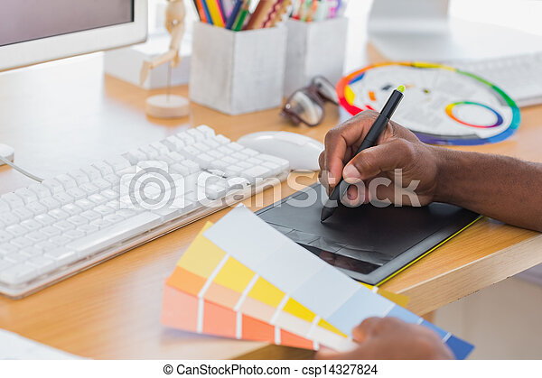 Designer using graphics tablet - csp14327824