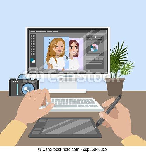 Designer working table. - csp56040359