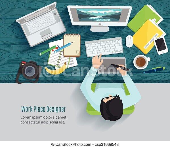 Designer Workplace Flat - csp31669543