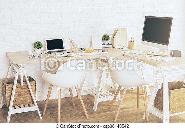 Designer workplace in interior - csp38143542