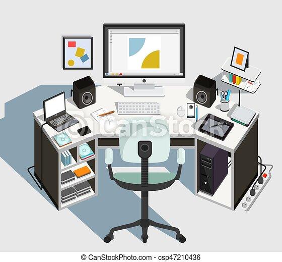 Designer workplace.  Vector illustration - csp47210436