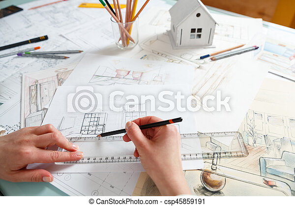 Designer Works With Hand Drawing Of Interior   Csp45859191
