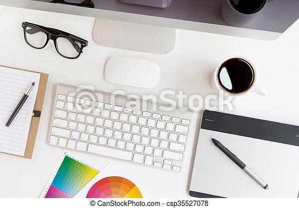 designer workspace on top view - csp35527078