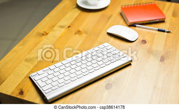 Desk accessories desktop, keyboard, computer mouse on wooden oak table - csp38614178