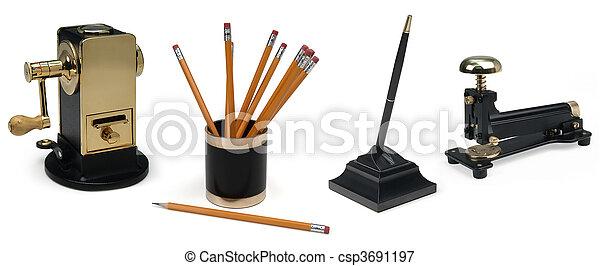 desk accessories on white - csp3691197