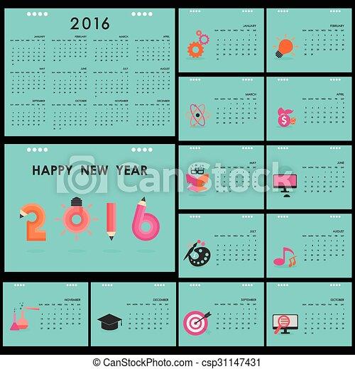 desk calendar 2016 vector design template set of 12 months week