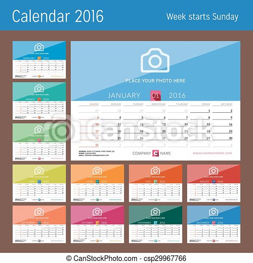 desk calendar 2016 vector print template set of 12 months week