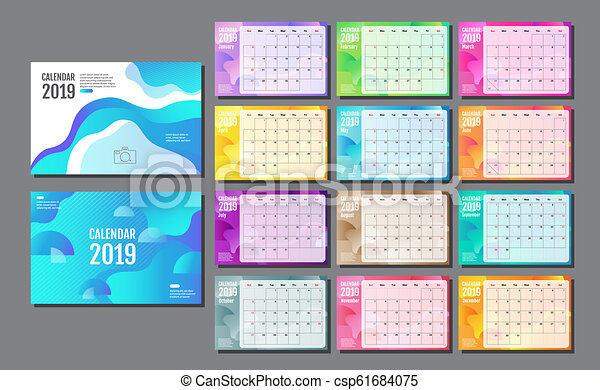 Desk Calendar 2019 Template Layout Design Planner Vector Flat Design