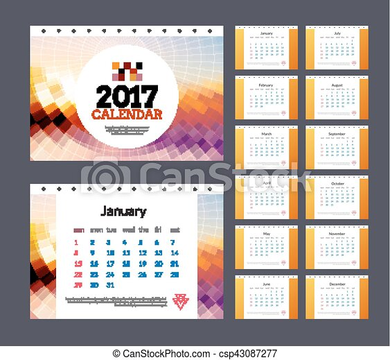 Desk Calendar Template 2017 Vector Business Design Illustration