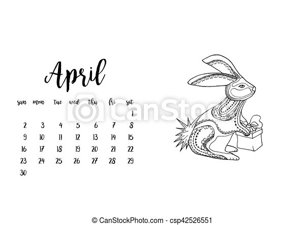 April Clipart Black And White