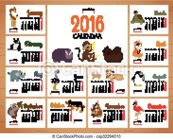 desk calendar vector print template with zoo animals. Cartoon design calendar for children. Vector illustration.  - csp32294010