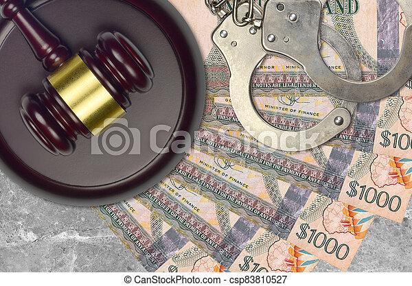 desk., dollars, procès, impôt, guyanese, action éviter, juge cour, marteau, police, concept, ou, judiciaire, 1000, menottes, factures, bribery. - csp83810527