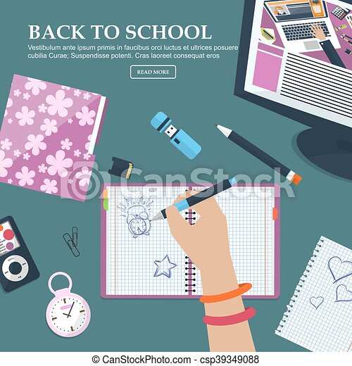 Desk Schoolgirls with exercise books and stationery  With place for your  text  Vector