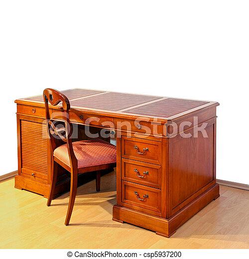 Desk - csp5937200 - Desk. Very Old Wooden Work Desk With Chair .