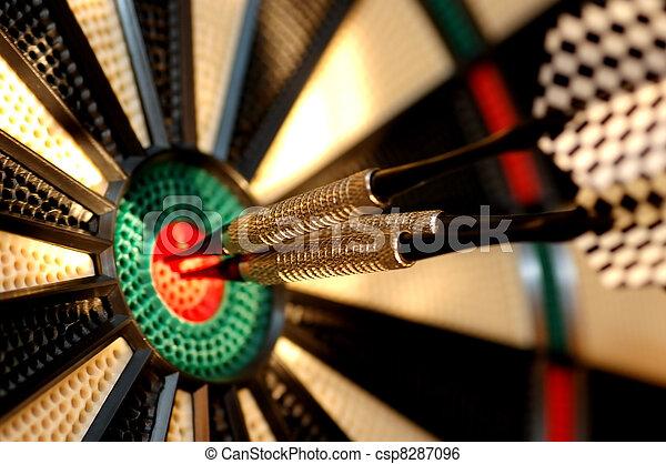 deska, strzałka, strzały, trzy, środek - csp8287096