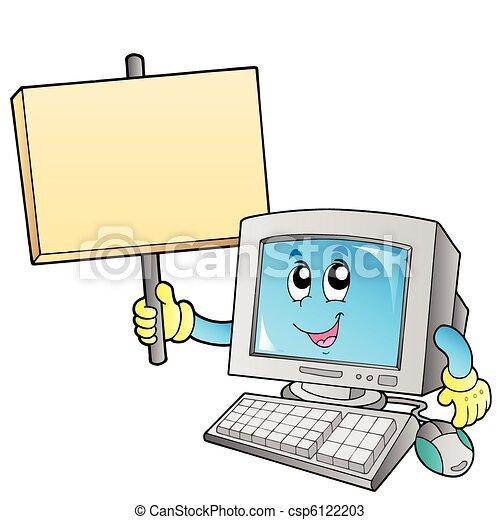 desktop computer, planke, blank - csp6122203