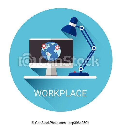 desktop, local trabalho, negócio, ícone - csp39643501
