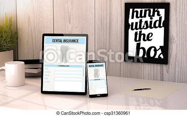desktop tablet and phone dental insurance - csp31360961