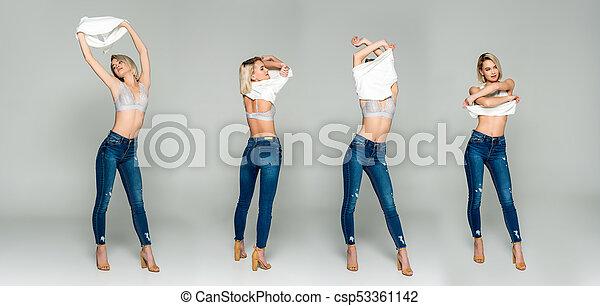 desligado, colagem, levando, roupas, isolado, cinzento, menina, sedutor, soutien - csp53361142