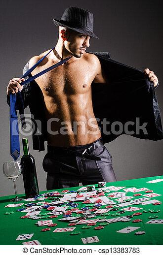desnudo, hombre de negocios, casino, se estropeó - csp13383783