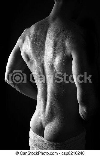 desnudo, muscular, hombre - csp8216240