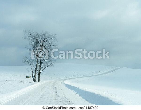 Desolate Winter Road - csp31487499